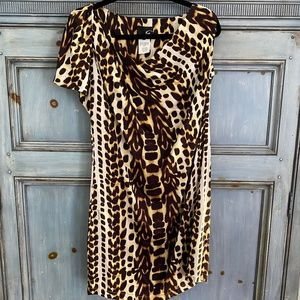 Just Cavalli animal print silk shift dress size 42